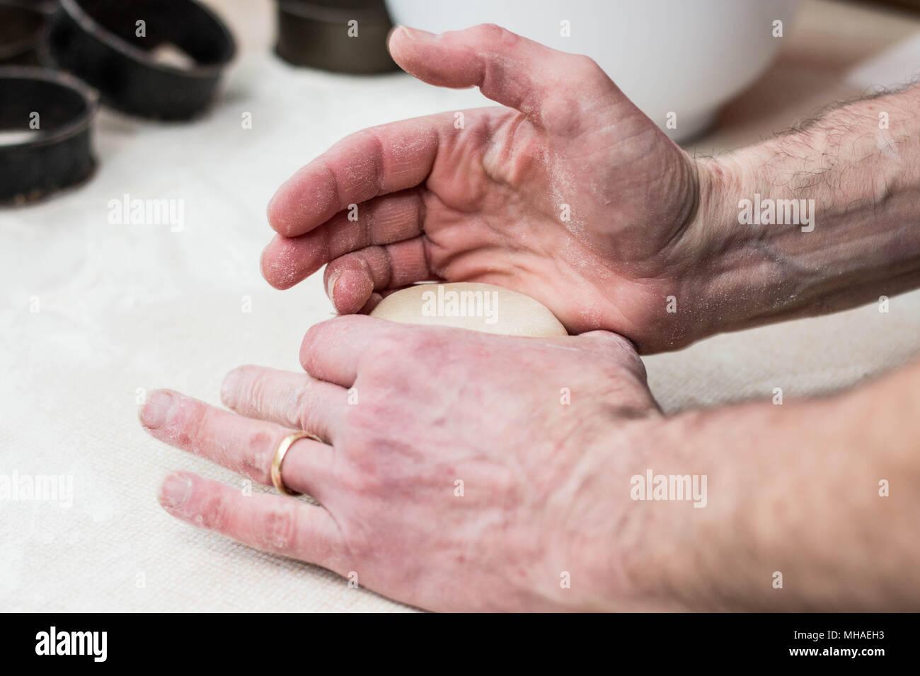 Making Artisan pork pies - Stock Image