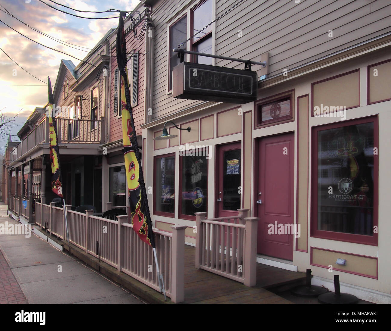 Camillus, New York, USA.  April 28, 2018. Small business along the main street through the small town of Camillus, New York, early morning Stock Photo