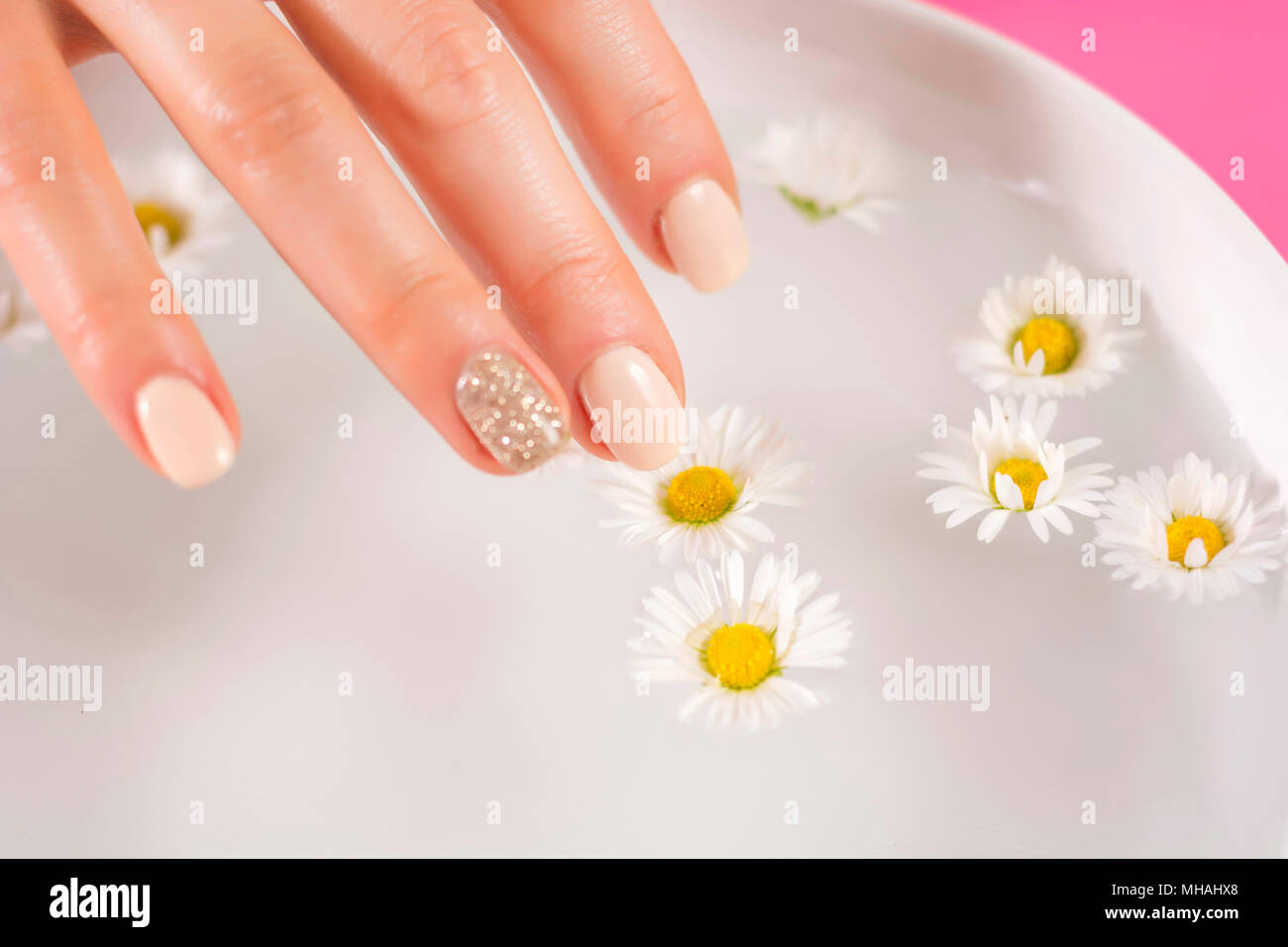 Beauty nail polish water close up stock photos beauty nail polish young woman finger with cream nails polish touch daisy flower in bowl with water manicure izmirmasajfo