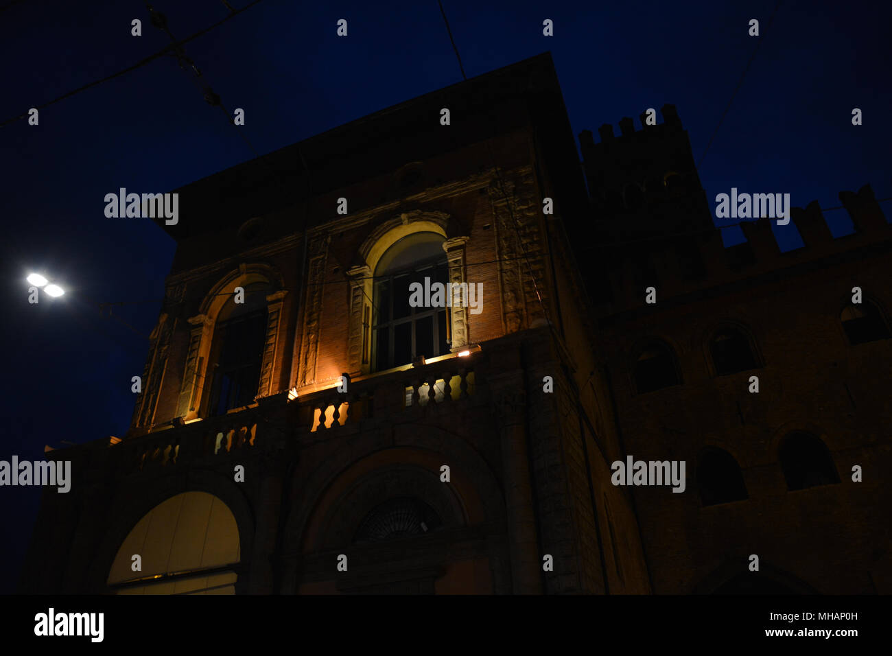 Nightshots of the Bologna city centre, beautiful town in Italy. - Stock Image