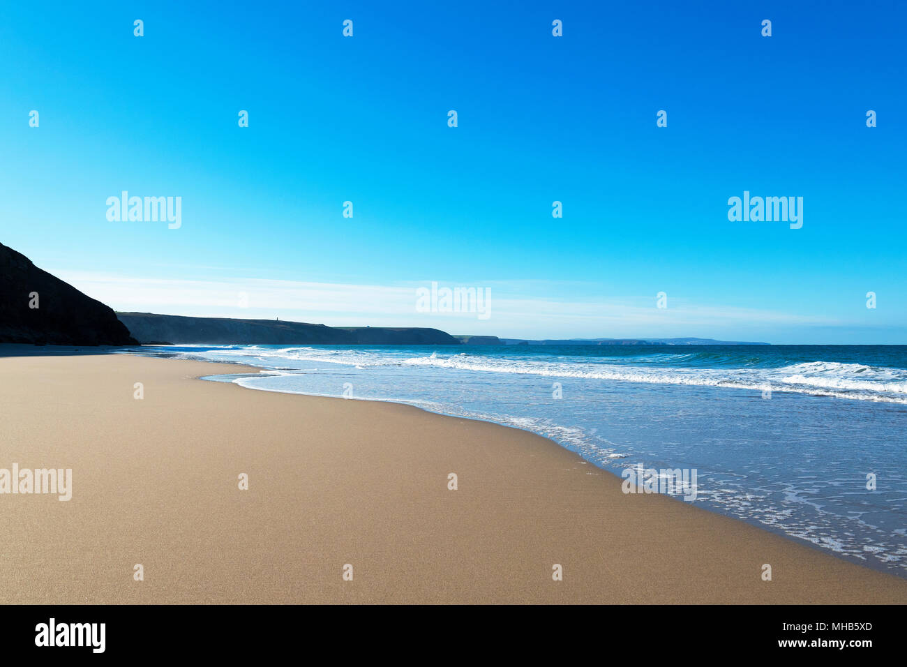 empty sandy beach at chapel porth, cornwall, england, britain, uk. - Stock Image