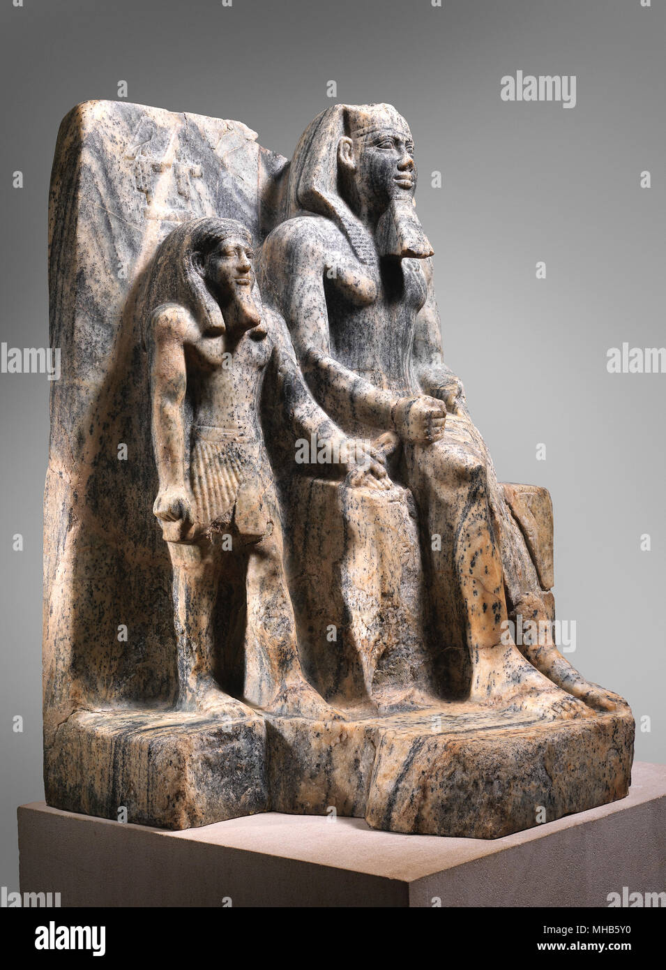 king sahure and a nome god statue dynasty 5 - Stock Image