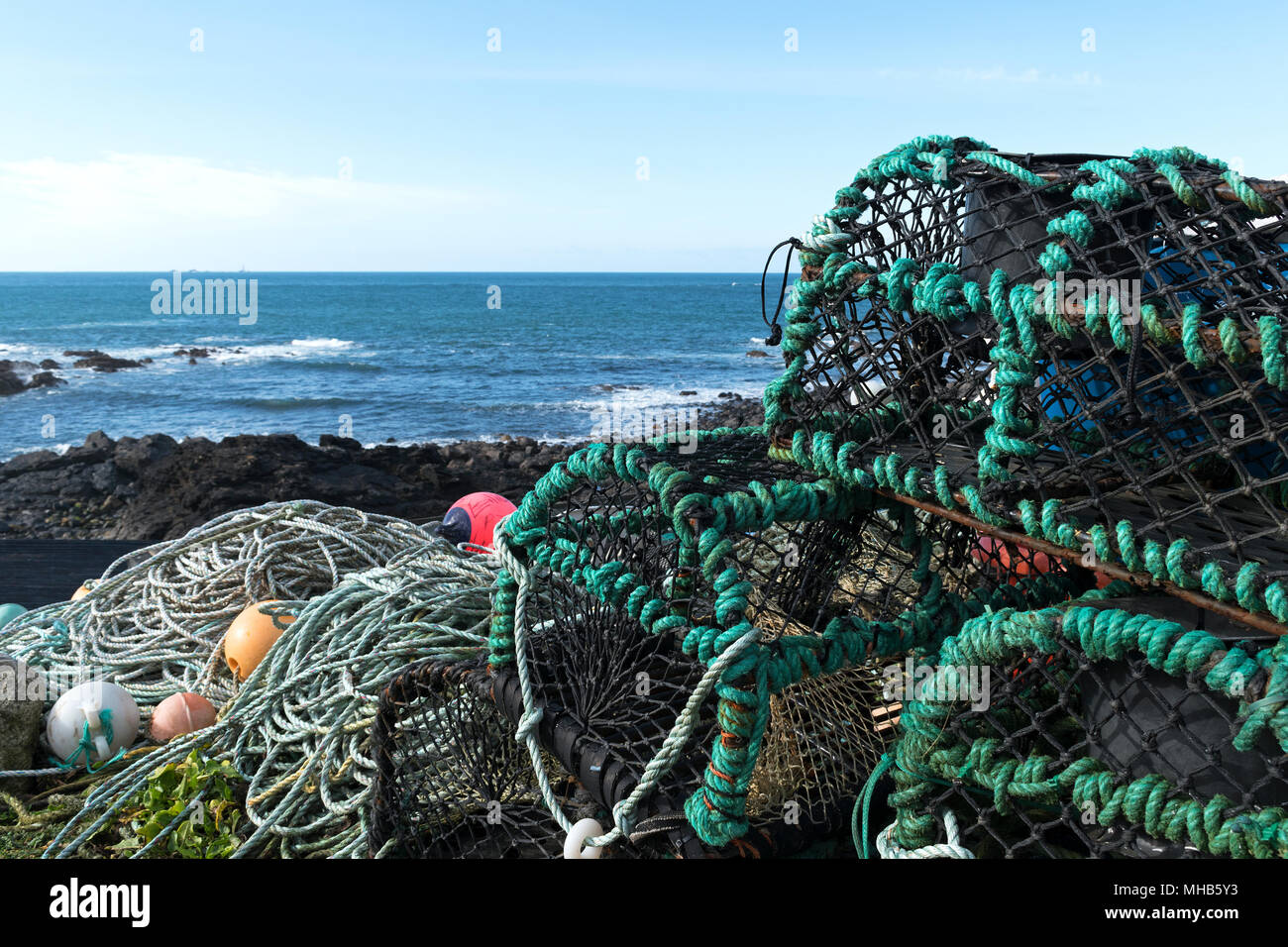 crab lobster pots at priests cove, cape cornwall, cornwall, england, britain, uk. - Stock Image