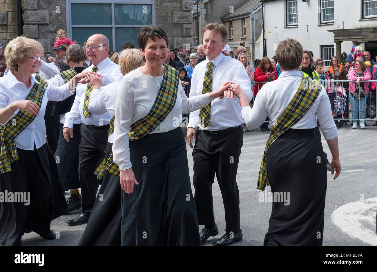 traditional cornish dancing in the streets during the annual trevithick day celebrations in camborne, cornwall, england, britain, uk, - Stock Image