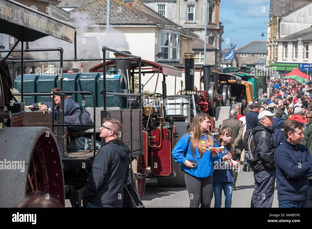 steam engines crowds of people trevithick day, camborne, cornwall, england, britain, uk. - Stock Image