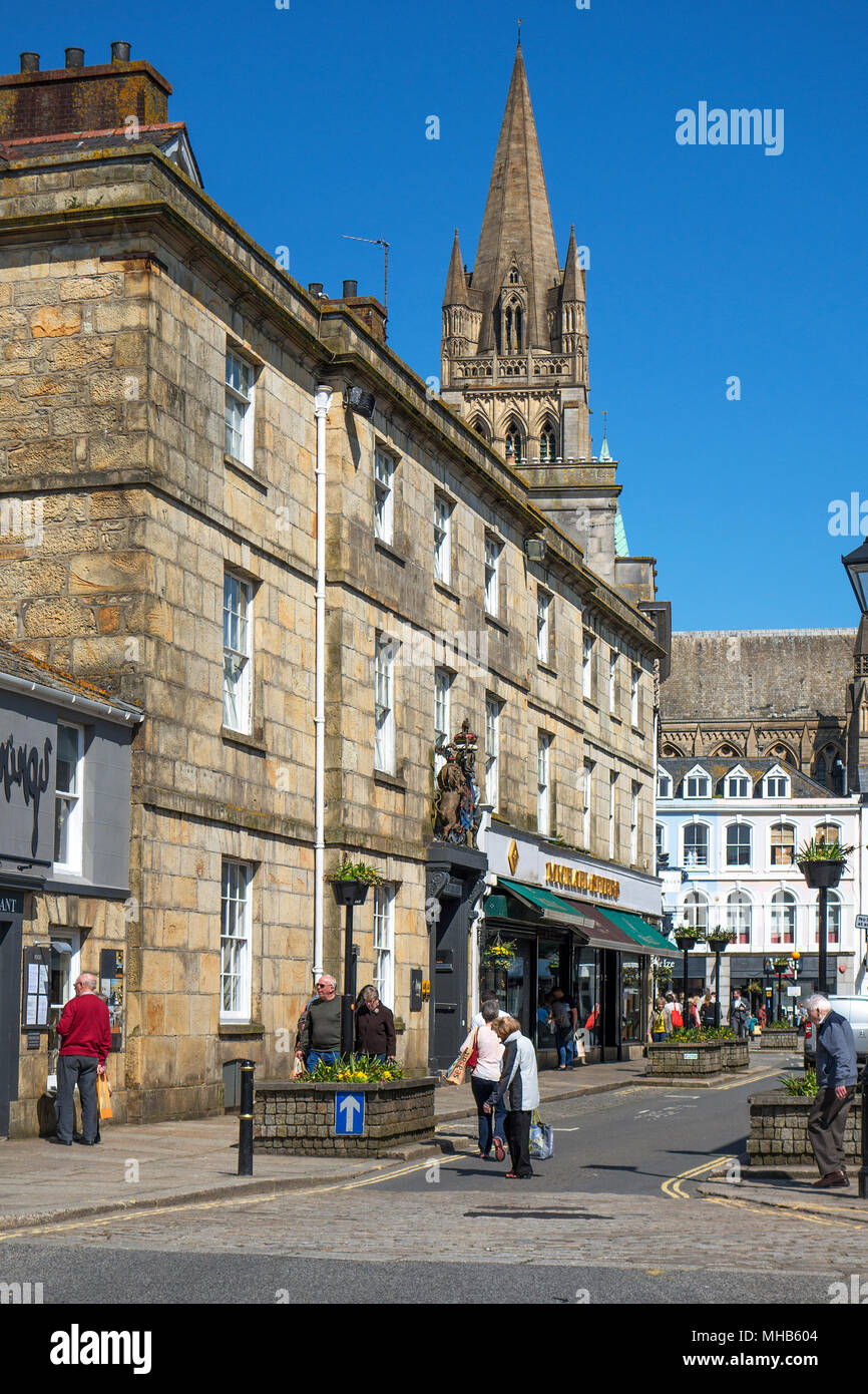 streets, buildings, cathedral in truro, cornwall, england, britain, uk. - Stock Image