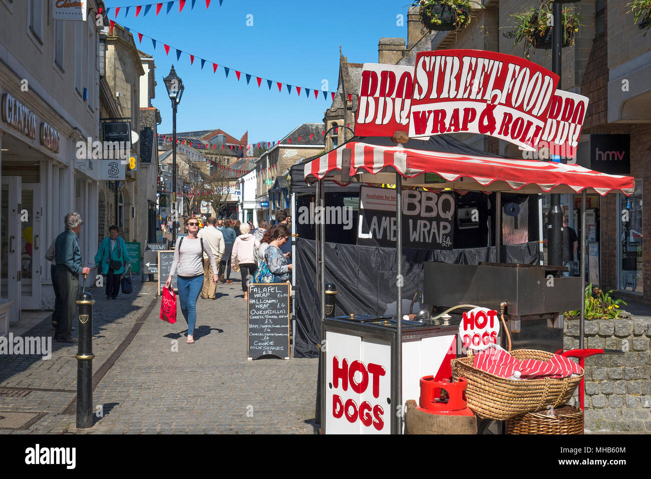 hot dog stand in truro, cornwall, england, britain, uk. - Stock Image
