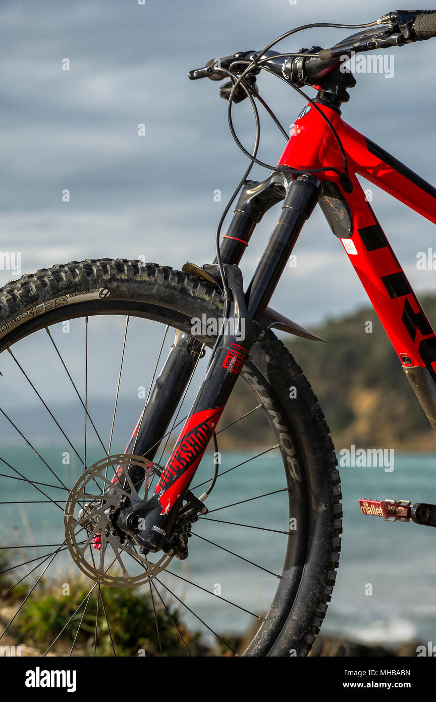 bb7f536e753 Mountain bike front suspension fork and disc brake Stock Photo ...