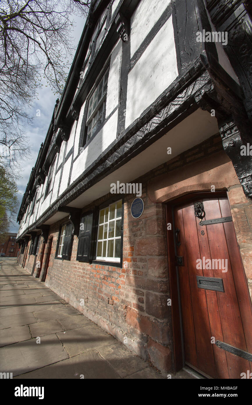 City of Chester, England. Picturesque view of the Grade II listed Nine Houses on Chester's Park Street. - Stock Image