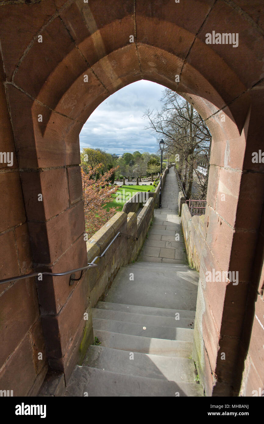 City of Chester, England. Picturesque view of Chester City Walls at ...