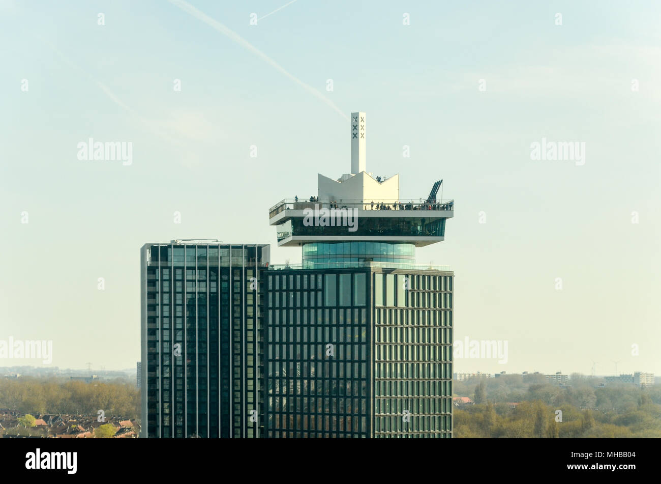 Aerial view of A'DAM Lookout tower in the morning in Amsterdam, Netherlands - Stock Image