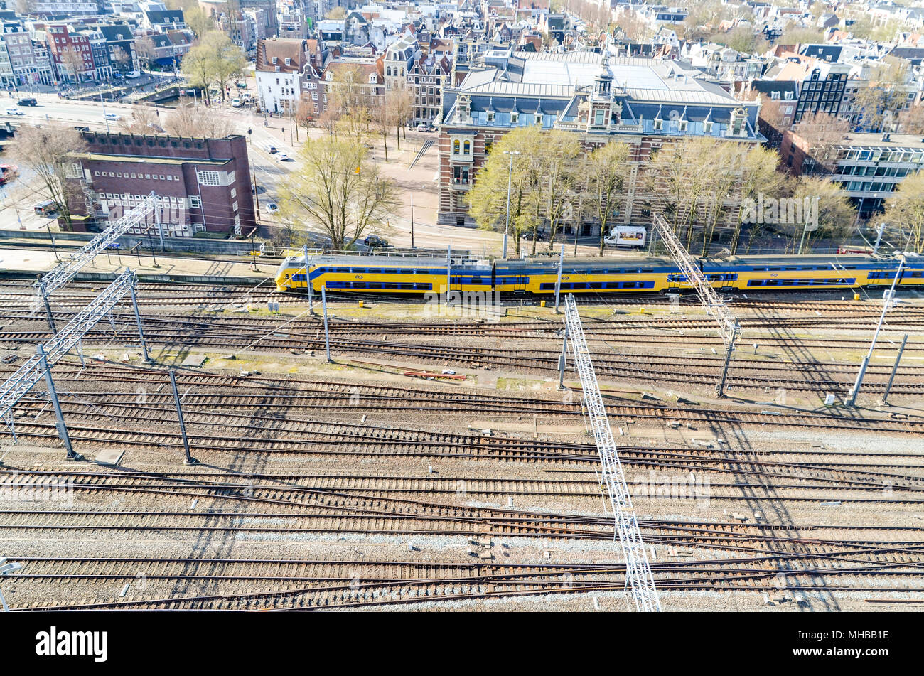 Aerial view of Amsterdam and Centraal Station, Amsterdam, Netherlands - Stock Image