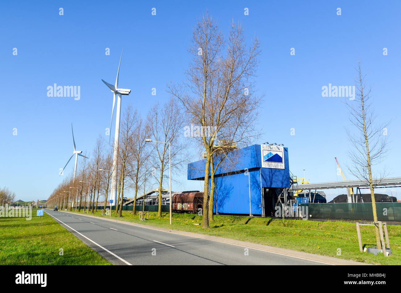 Wind turbines in the port of Amsterdam (Westpoort), Amsterdam West, the Netherlands - Stock Image