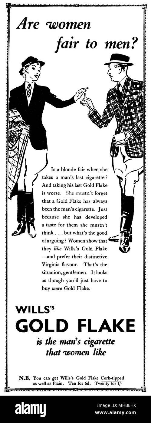 1938 British advertisement for Wills's Gold Flake cigarettes. - Stock Image