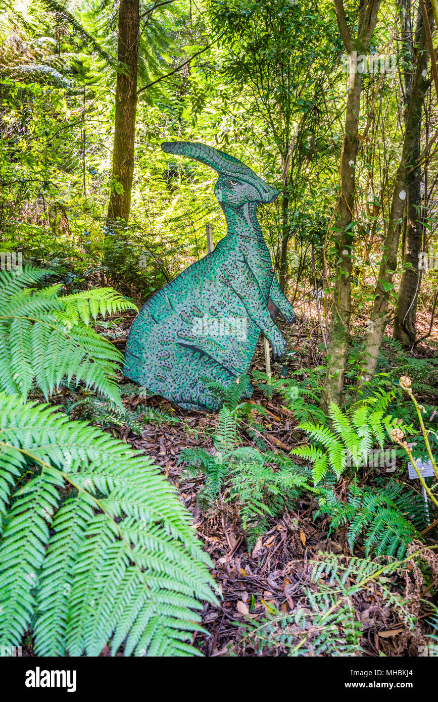 mock up pre-historic creature in the woodlands of Blue Mountains Botanic Garden, Mount Tomah, the 128 hectare public garden, 1000 m above sea level sp - Stock Image