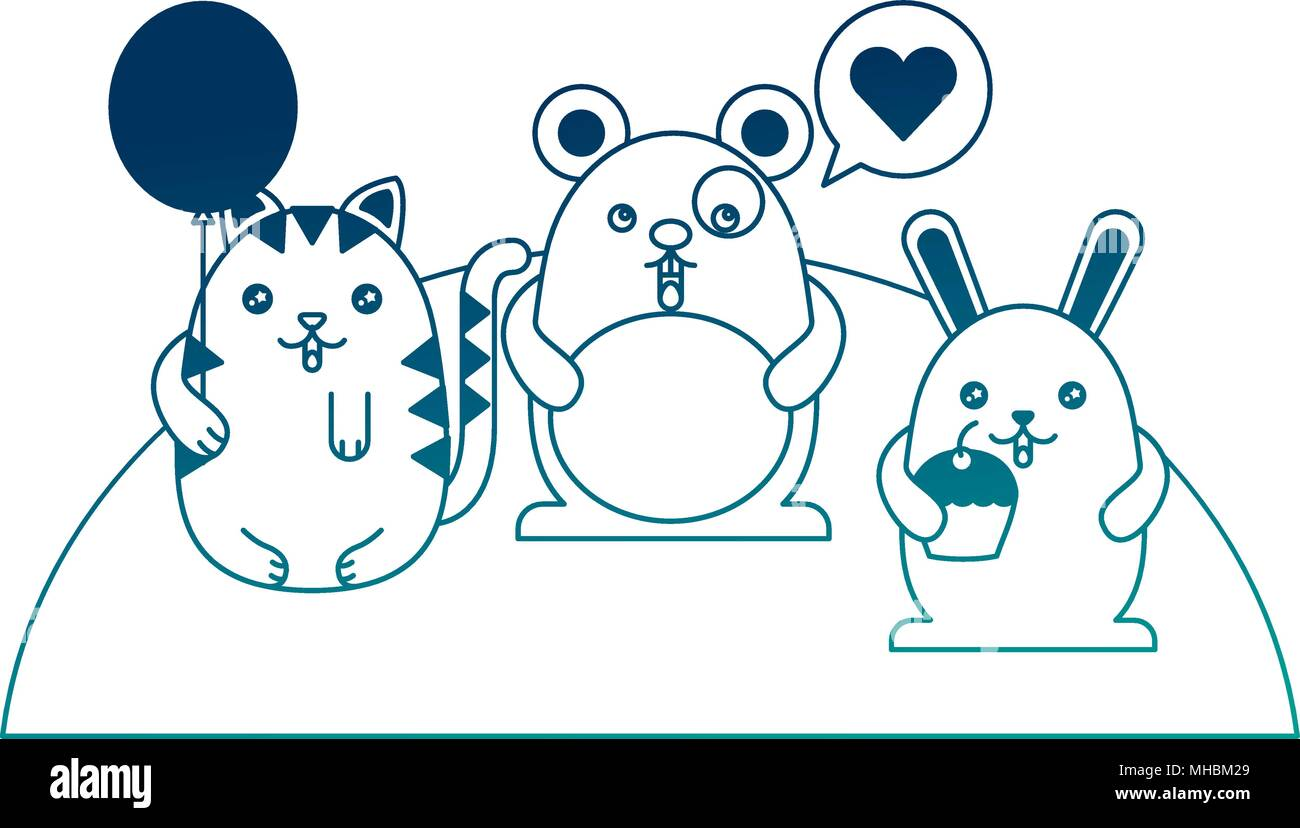 cute animals speech bubble love and balloon cartoon vector