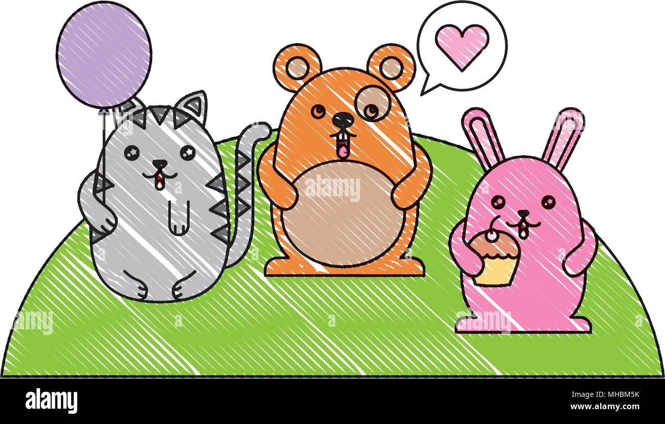 cute animals with speech bubble and helium ballon kawaii