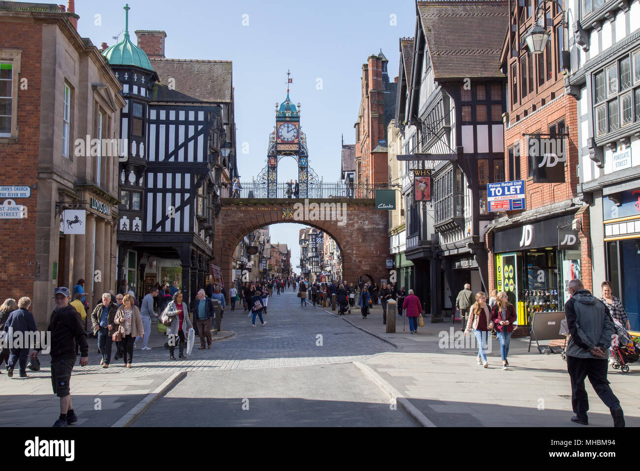 The Eastgate and Eastgate Clock on Eastgate Street - part of the walled city of Chester Stock Photo