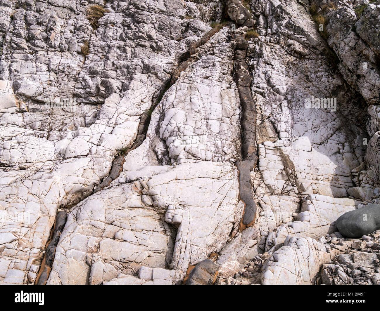 Small veins of dark palaeogene igneous basalt intrusion forming cracks in lighter colour sedimentary arenite bedrock, Ord, Isle of Skye, Scotland, UK - Stock Image