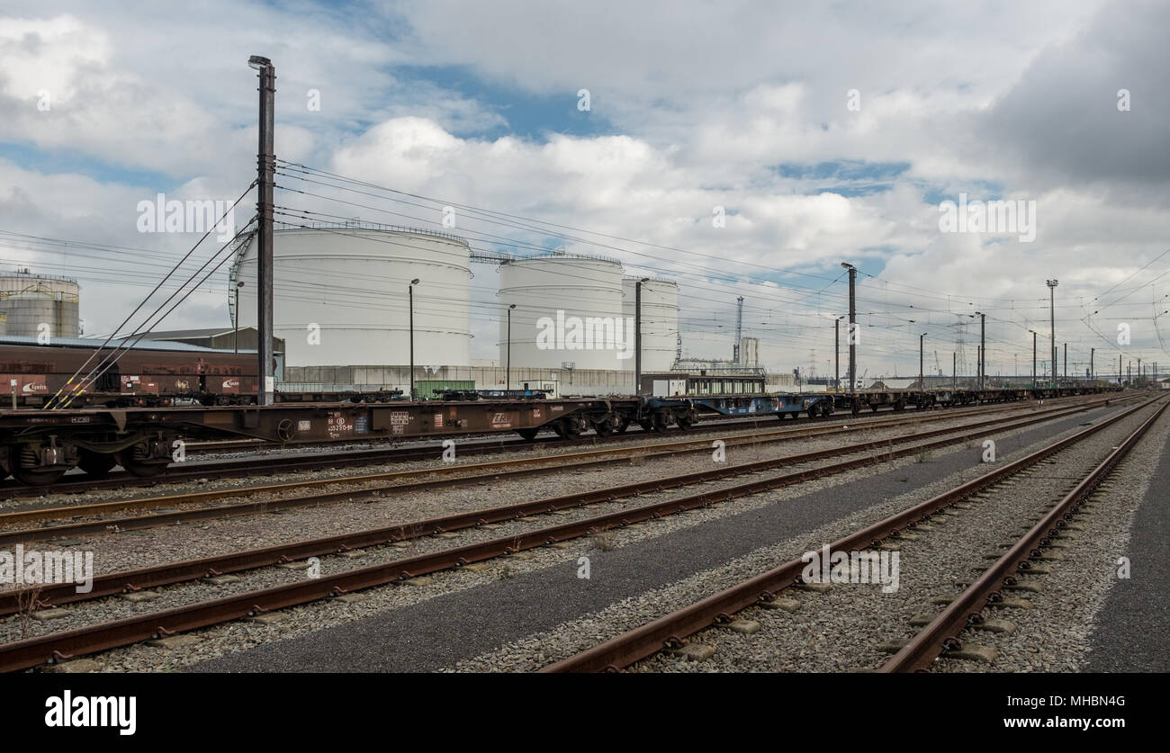Railtracks in the port of Antwerp, Sunday 22 November 2015, Antwerp, Belgium. - Stock Image
