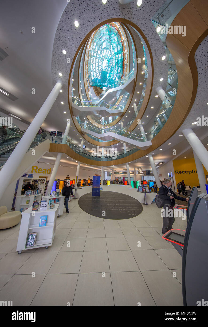 The spectacular modern wing of Liverpool's Central Library Stock Photo