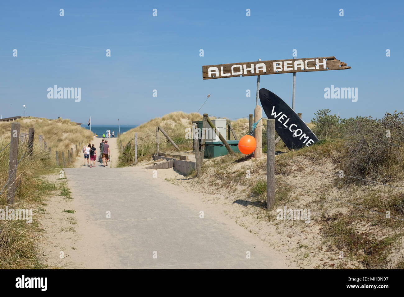 Entry to the Aloha Beach Club, located on one of the many beaches in Zeeland in the Netherlands. - Stock Image