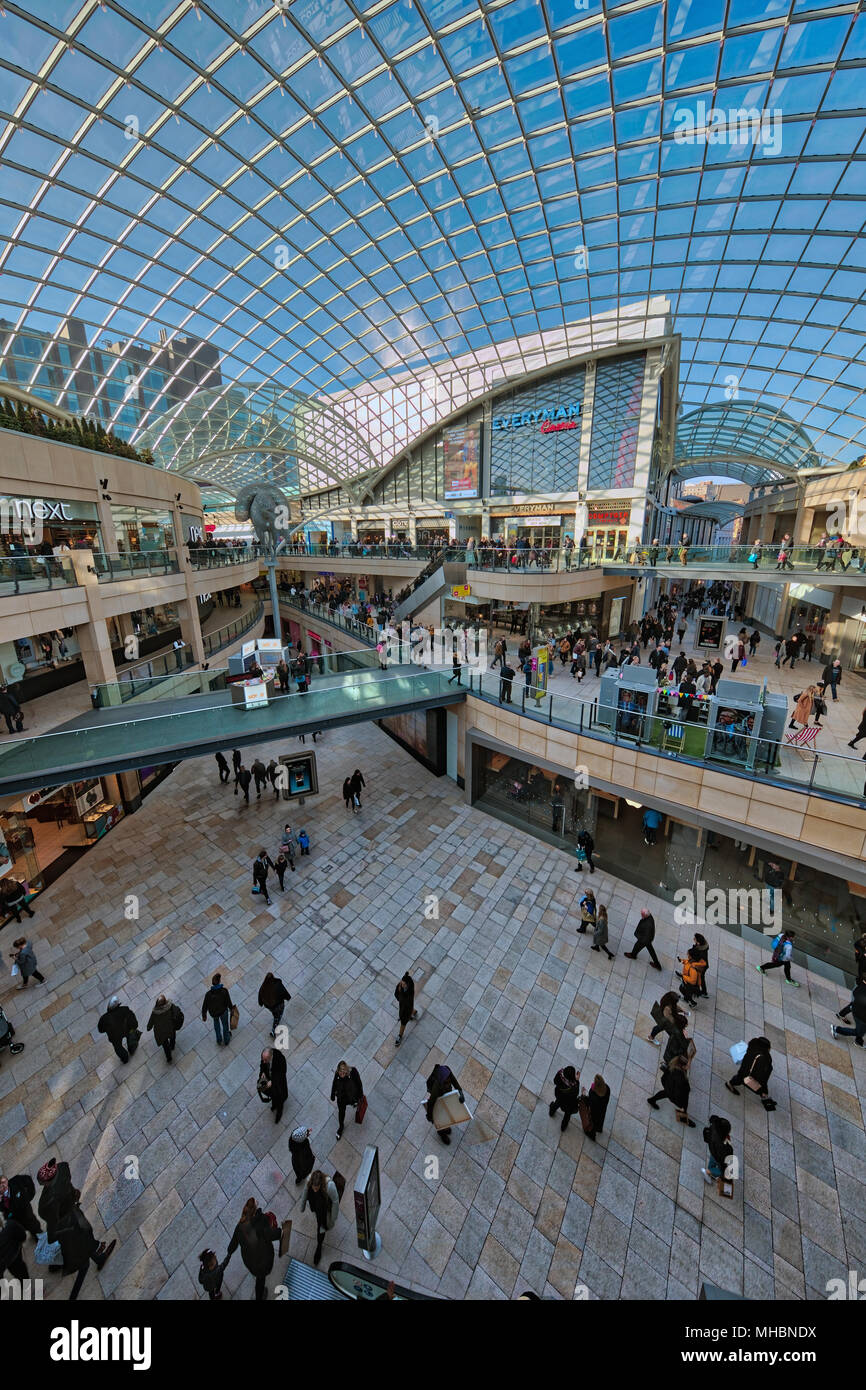 Interior of the modern Trinity Leeds Shopping centre in central Leeds - Stock Image