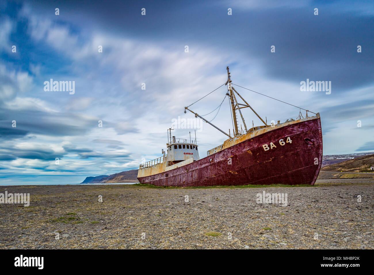 Gardar BA 64 ship wreck in Patrekfjordur, Westfjords, Iceland Stock