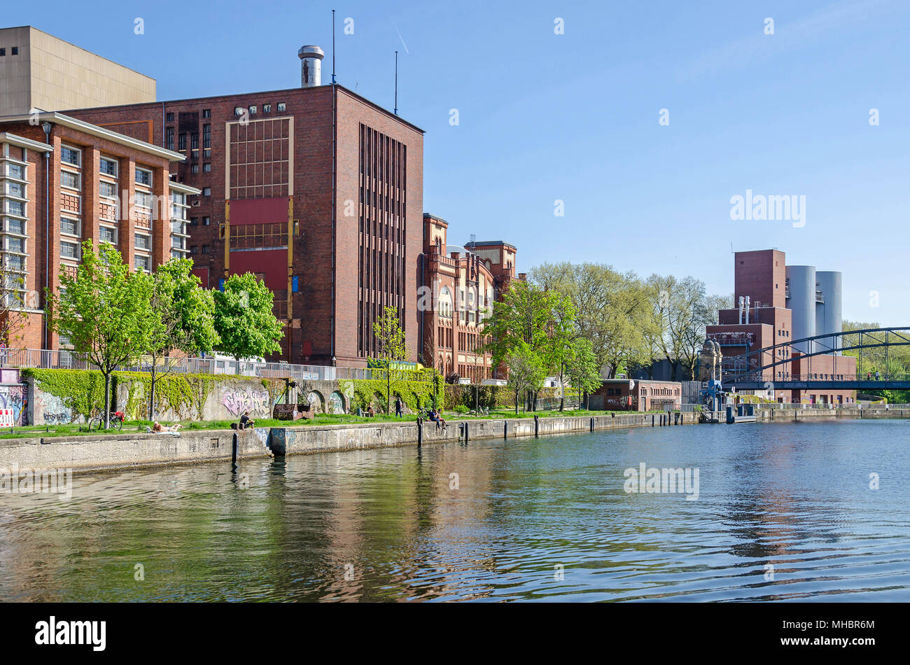 Berlin, Germany - April 22, 2018: Cogeneration plant Charlottenburg operated by the german subsidiary company of Vattenfall with its Brick Gothic hist - Stock Image