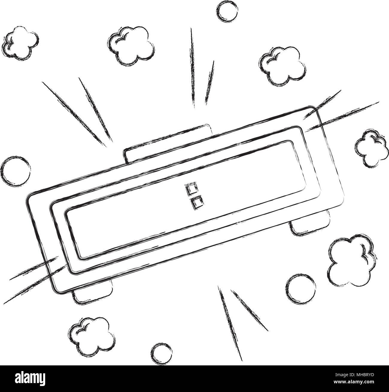 digital alarm clock pop art style vector illustration - Stock Vector