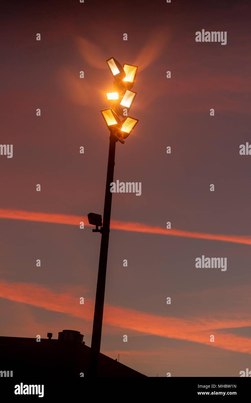 Lights at sunrise, George Bush Intercontinental Airport, Houston, TX. - Stock Image