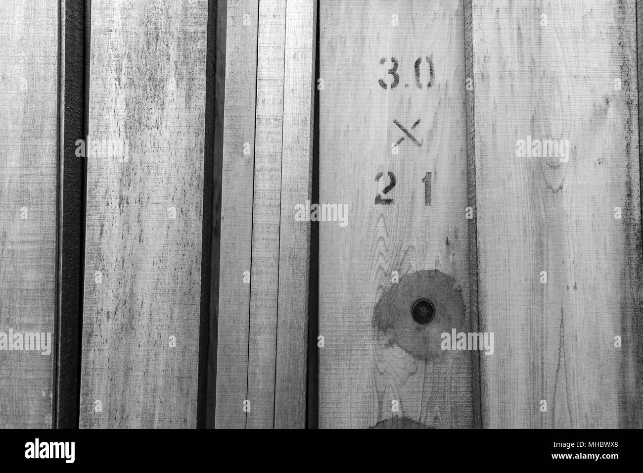 30 x 21; timber, standing; Tokyo, Japan (black and white) - Stock Image