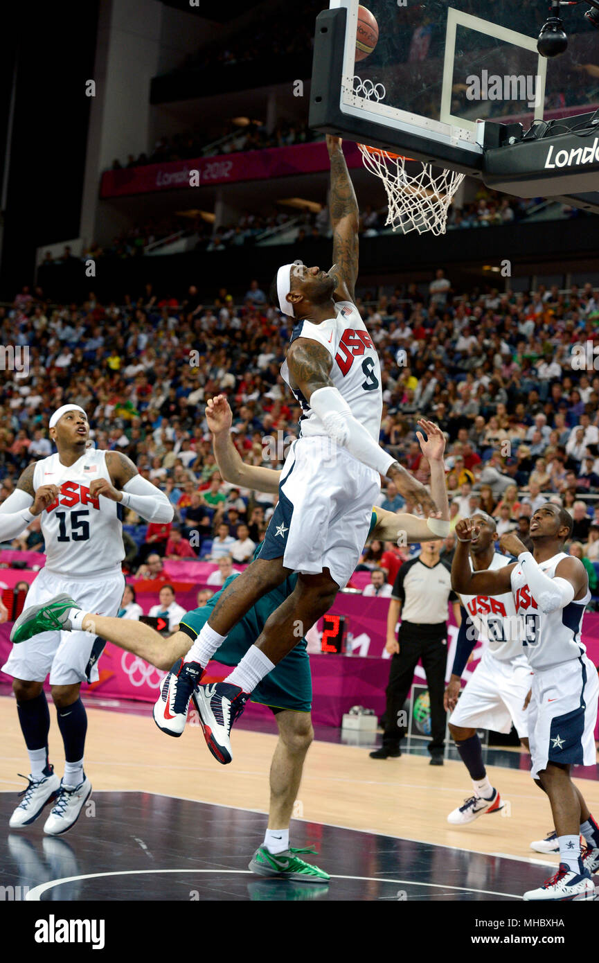 LeBron James in action during the United States quarterfinal Men's Basketball game against Australia. Stock Photo