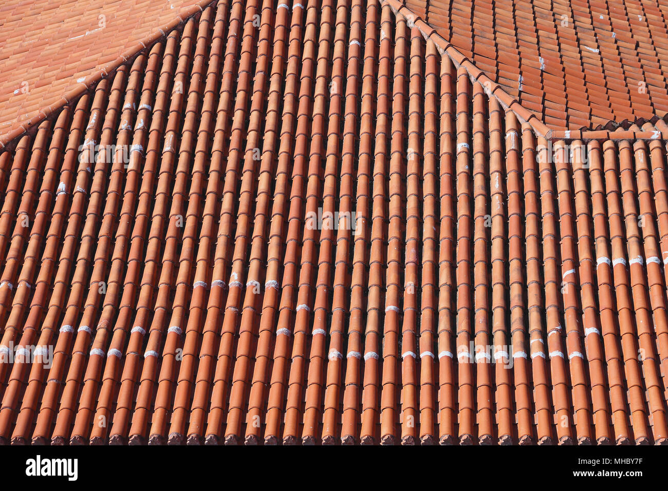 Terracotta Ceramic Roof Tiles From Above Stock Photo 182815683 Alamy