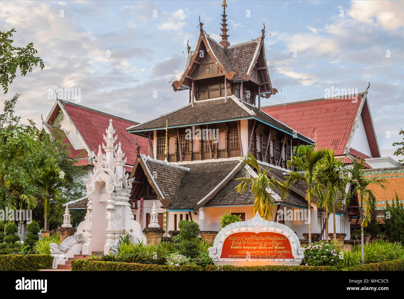 Building of the Buddhist Manuscript Library and Museum inside Wat Chedi Luang, Chiang Mai, Thailand - Stock Image