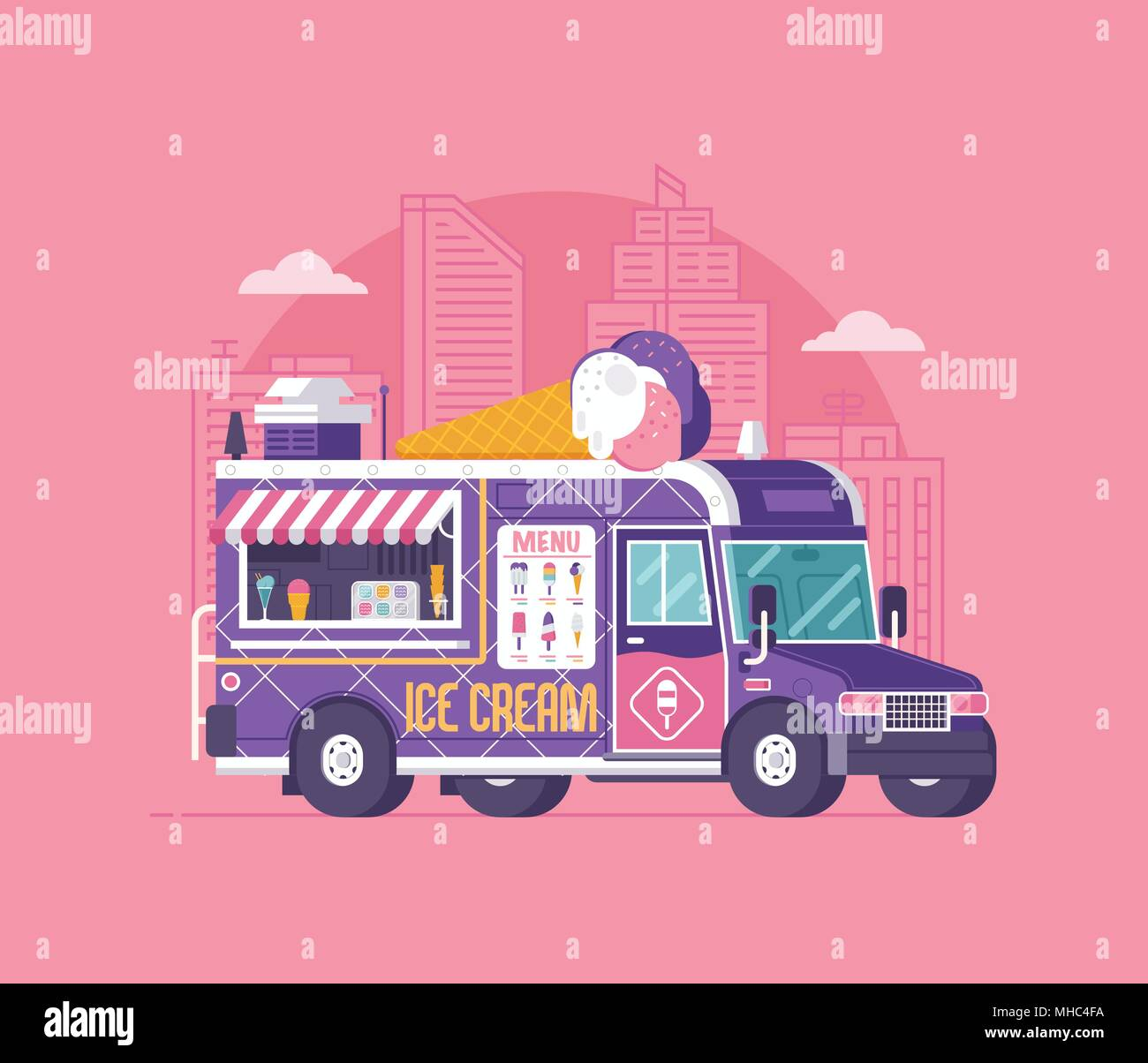 Retro ice cream van in flat design. City street food car. Summer kitchen auto kiosk vector illustration. Cartoon ice-cream truck illustration. Vintage Stock Vector