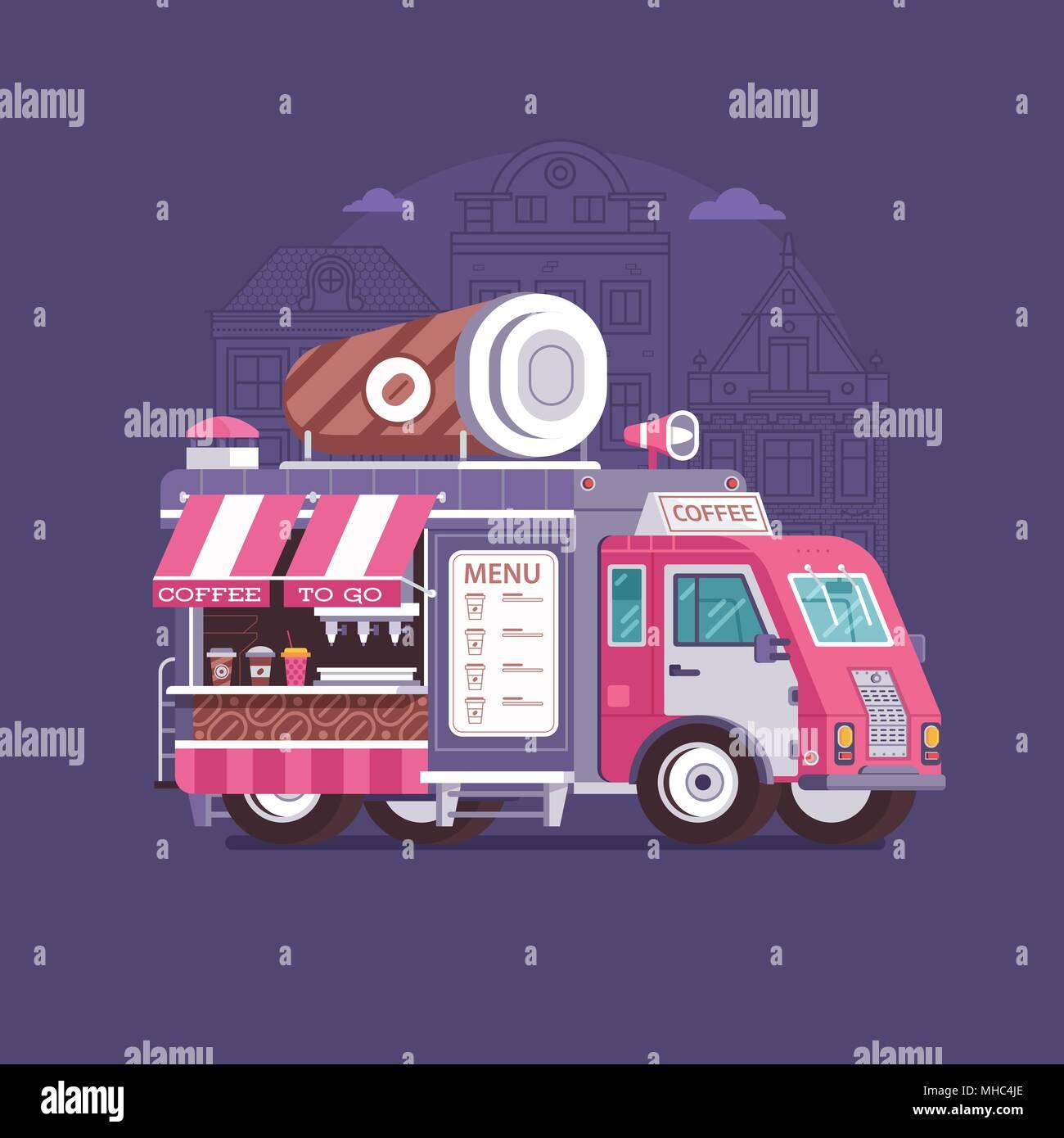 retro coffee van in flat design city street food truck with cafe cup summer kitchen auto kiosk in flat design cartoon car with food on wheels illus - Summer Kitchen Menu