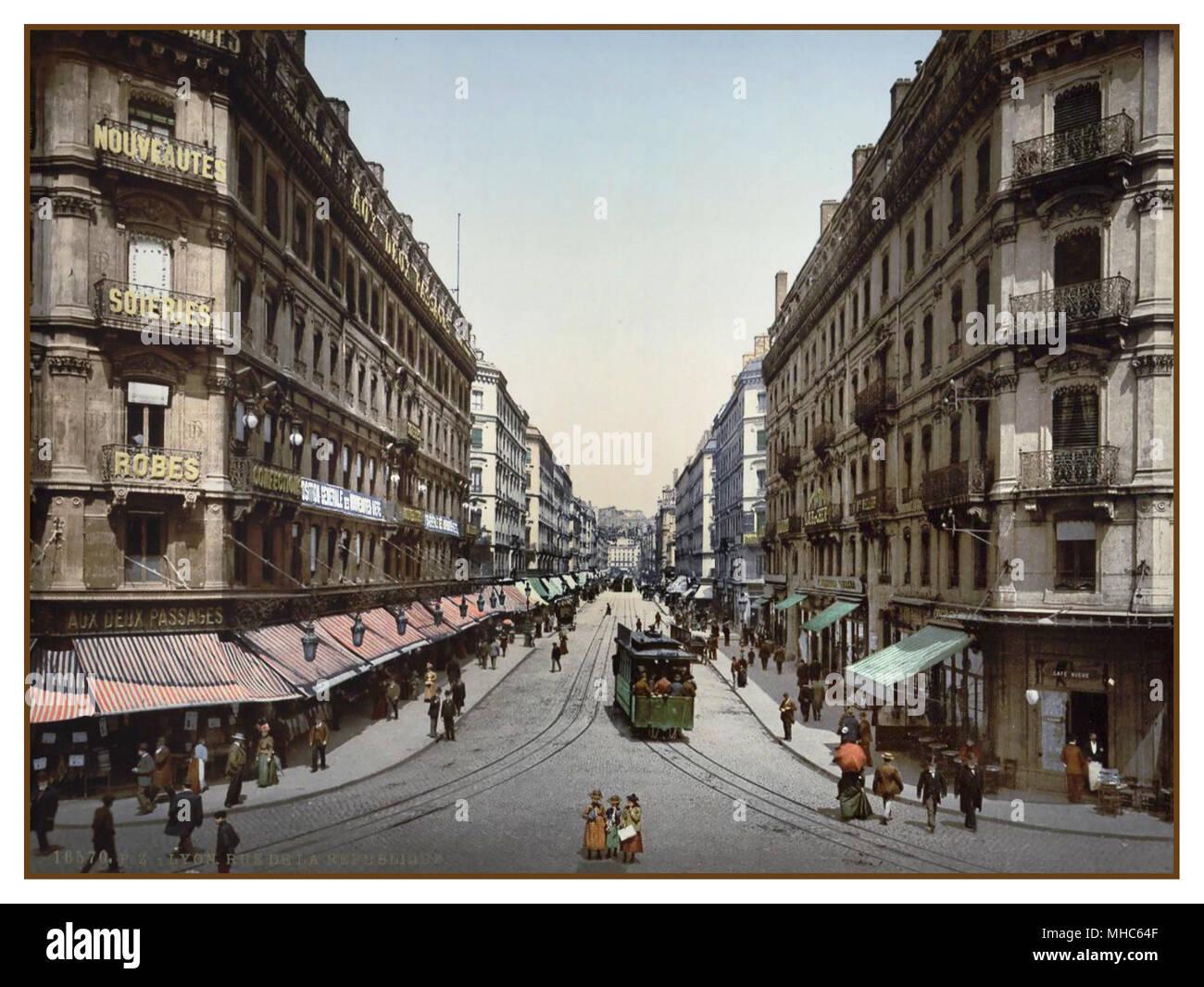 LYON France 1890s -1900 Vintage Historic Colour France Photocrom. Color Lithography technique Rue de la Republic, Lyon, France - Stock Image