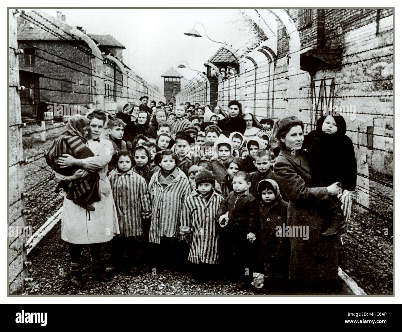 AUSCHWITZ SURVIVORS CHILDREN BABIES AND WOMEN STRIPED UNIFORM LIBERATION  closed in by stretches of electrified barbed wire, staring without emotion to their liberators. A still frame of horror from Auschwitz Birkenau Nazi concentration camp. Liberation January 27 1945. - Stock Image