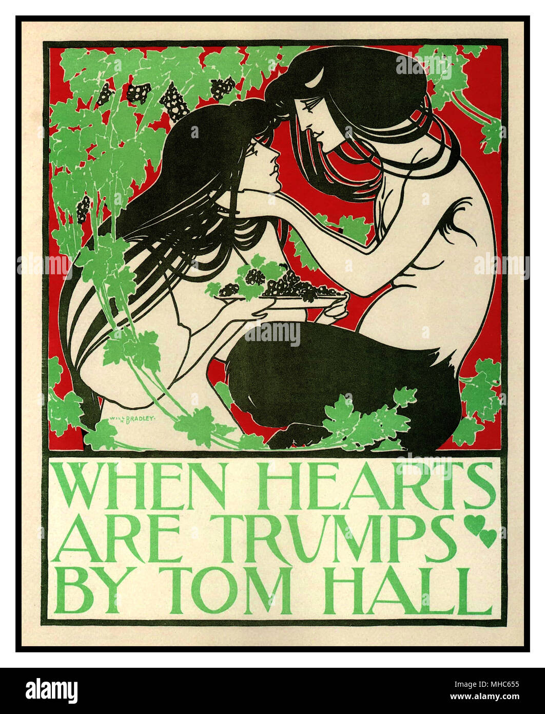 When Hearts Are Trumps, Art Nouveau Poster by Will Bradley, 1894 A vintage art nouveau poster for the book When Hearts are Trumps written by Tom Hall. The high resolution art nouveau poster was illustrated by William Henry Bradley in 1894. - Stock Image