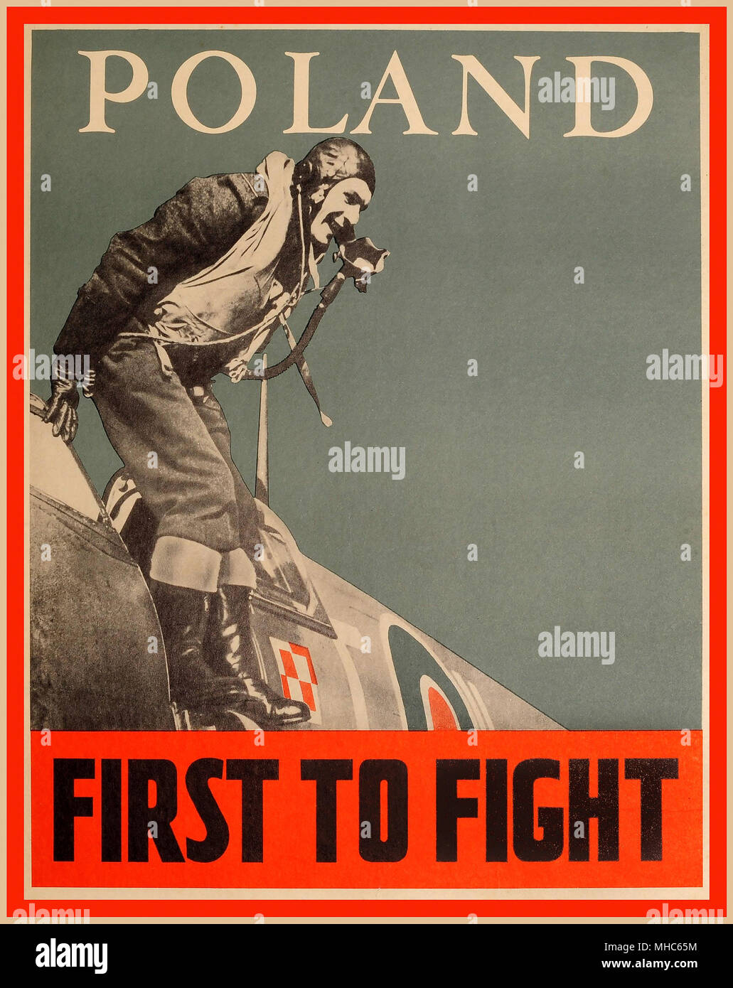 WW2 Propaganda Poster 'POLAND FIRST TO FIGHT' 1940's showing the contribution made by Polish pilots flying Spitfire Aircraft in Britain with the RAF in World War II - Stock Image