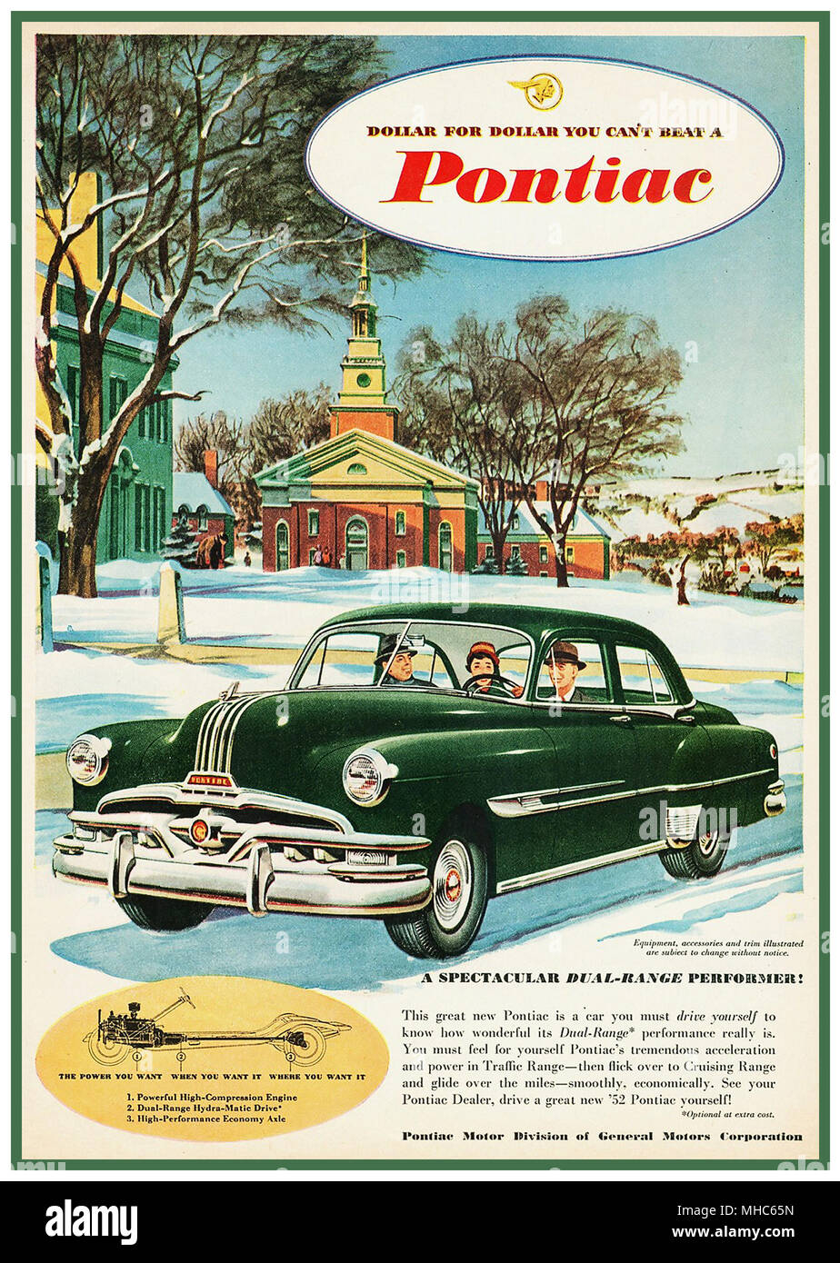 1950's Vintage American Automobile poster and press advertisement, featuring Pontiac 1952 Chieftain 2 Door Sedan 'Dollar for Dollar you can't beat a Pontiac' America USA - Stock Image
