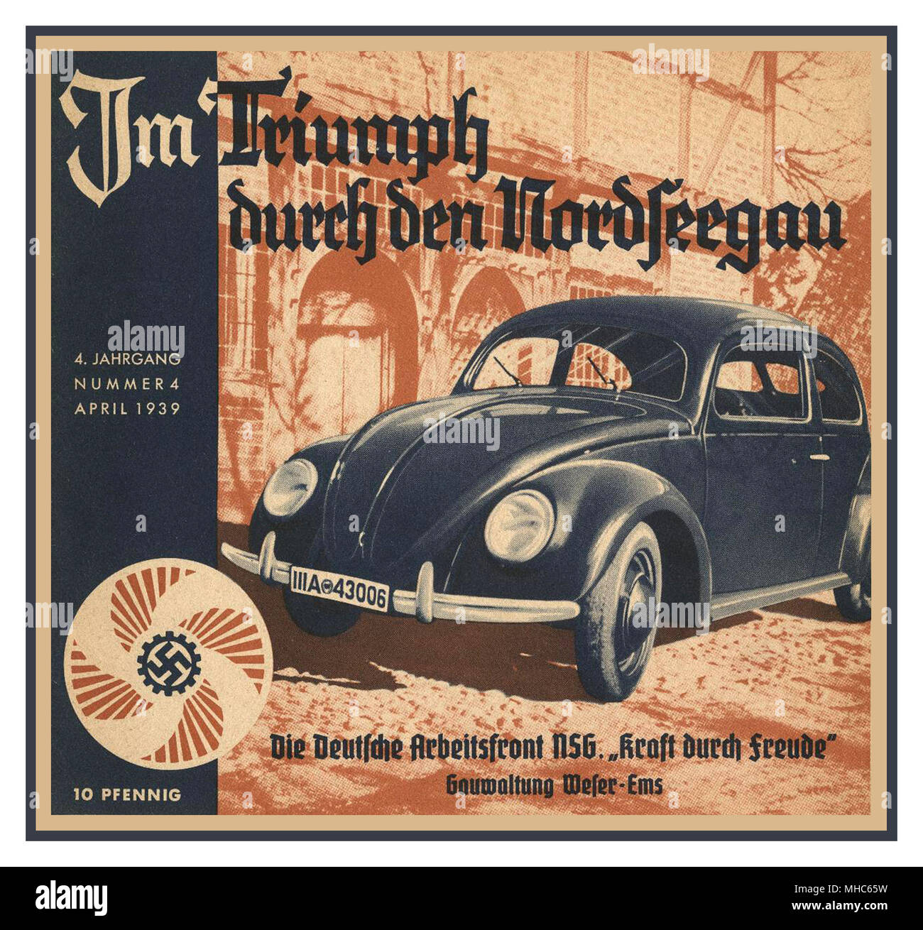 Volkswagen KDF Wagen Press advertisement 1939 -' Im Triumph durch den Nordseegau' advertisement for the Volkswagen KdF-Wagen (predecessor name of Beetle). The auto manufacturer, Volkswagen, was founded as part of the German Labour Front's 'Kraft durch Freude', (thus the name 'KdF') or 'Strength Through Joy' policy, all which was highly representative to the ideological tenants of the 1930's NSDAP Nazi Party Germany - Stock Image