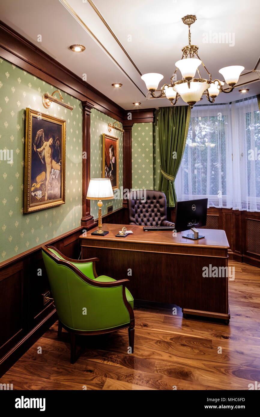 Study Room Interior: Interior Luxury Study Room Stock Photo: 182821393