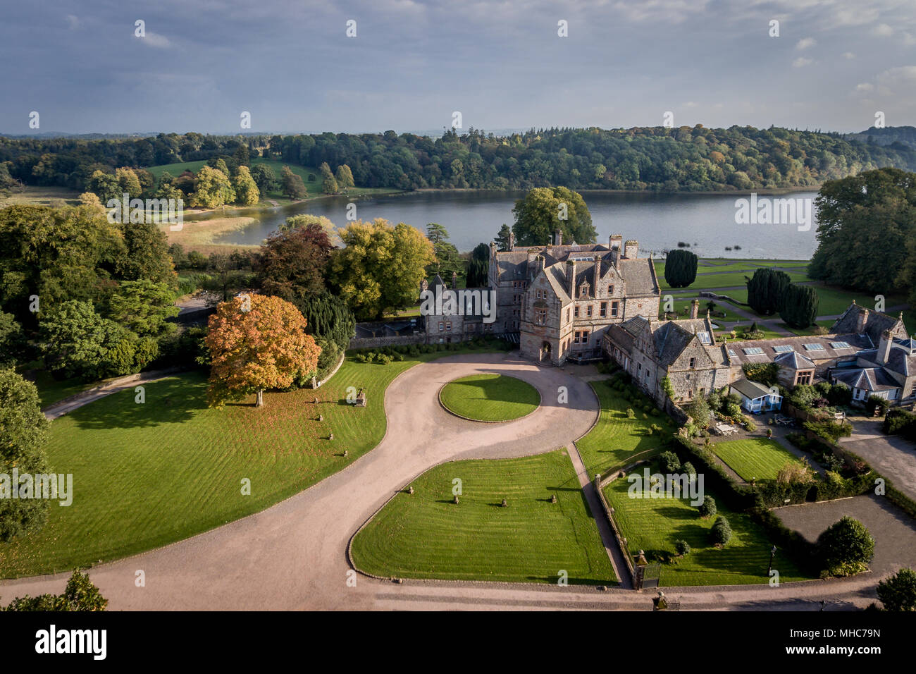 Aerial View of the gardens and lake of Castle Leslie Estate, Co Monaghan, Ireland. - Stock Image