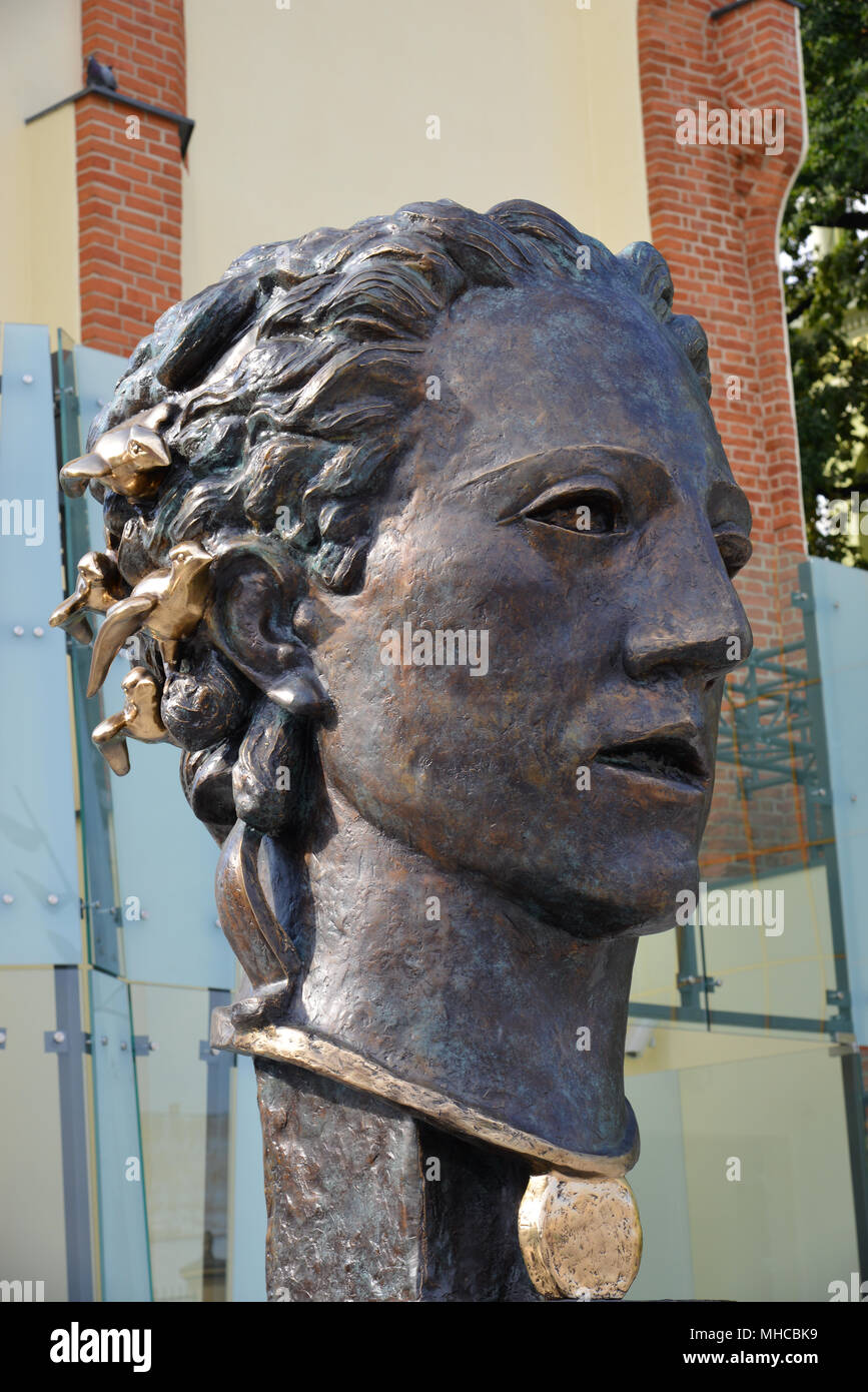 Bronze Statue of Orpheus in front of the the new Theater Museum in Wroclaw, after a design of famous artist Theodor von Gosen (1873 - 1943). - Stock Image
