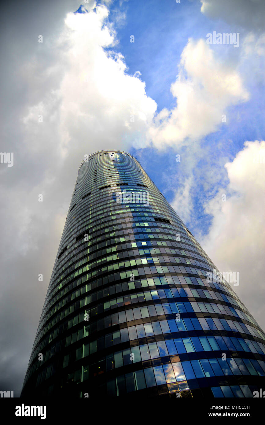 Impressive skyskraper / high rise 'Sky Tower' in Polish commercial capital Wroclaw / Breslau Stock Photo