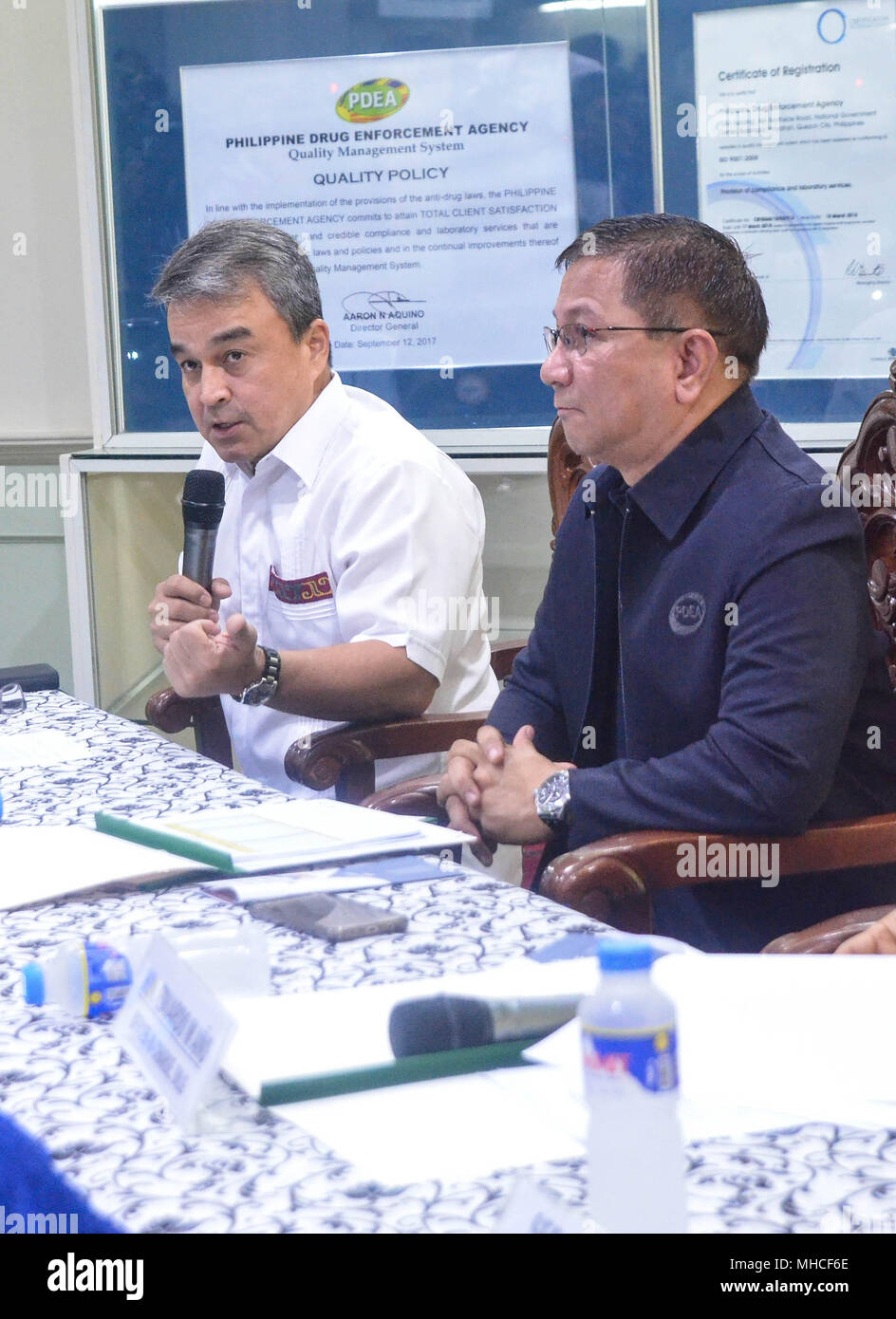 Quezon City Philippines 29th Apr 2018 Chairman Of The House Del Press Release Committee On Dangerous Drug Representative 2nd District Surigao Norte Hon Robert Aces Barbers During Conference