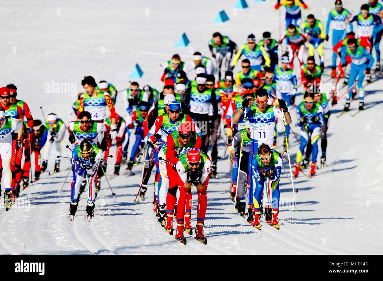 Men's 30K Pursuit, Cross Country Ski Race.  Vancouver Olympics, February 20, 2010. Stock Photo