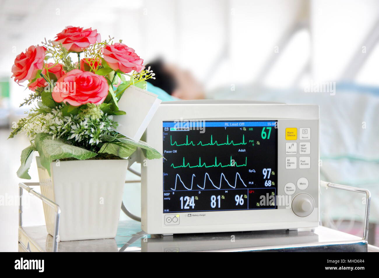 EKG monitor with patient - Stock Image